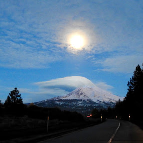 Clouds, Shasta, and the Moon by Sherry Gardner - Landscapes Mountains & Hills ( clouds, moon, shasta )