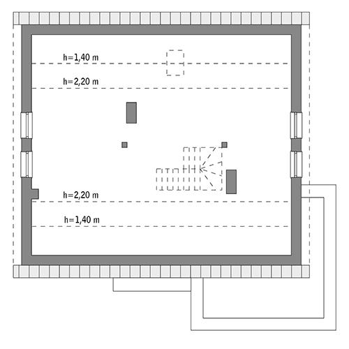 Magiczny świat - wariant I - M189a - Rzut poddasza do indywidualnej adaptacji (74,8 m2 powierzchni użytkowej)
