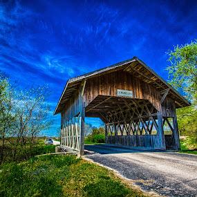Las Covered Bridge by Bruce Thiel - Buildings & Architecture Public & Historical ( covered bridge, bridge, nebrask )
