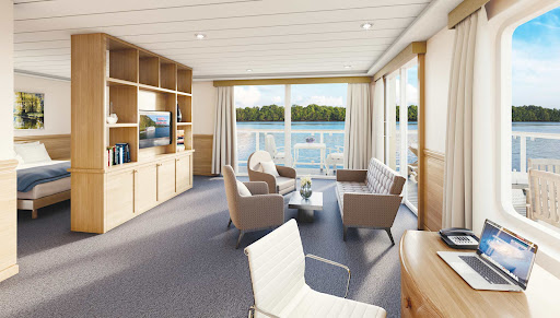 A spacious grand suite aboard American Jazz.