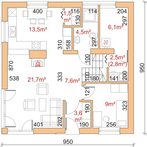 Dom przy Cyprysowej 23 - Rzut parteru