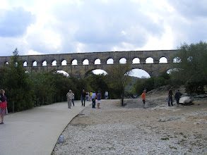 Photo: Our first view of the Pont du Gard, an impressive surviving portion over the Gardon valley of the aqueduct from Uzès to Nimes, which carried 44 million gallons a day at its peak in the 1st to 3rd centuries CE.