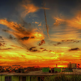 Rooftop Sunset by Edward Allen - Landscapes Sunsets & Sunrises