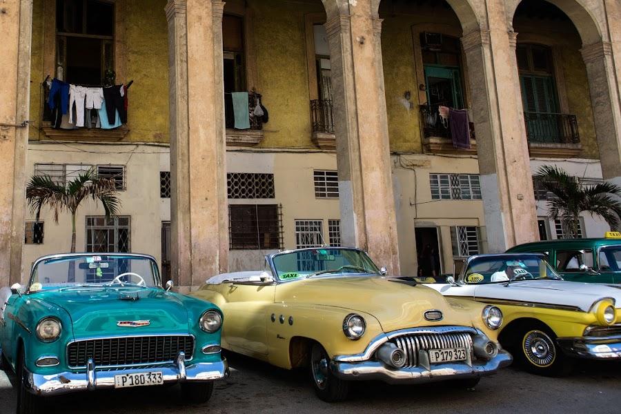Havana Taxis by Chris Seaton - City,  Street & Park  Street Scenes ( car, taxi, classic car, automobile, street scene, havana, laundry,  )