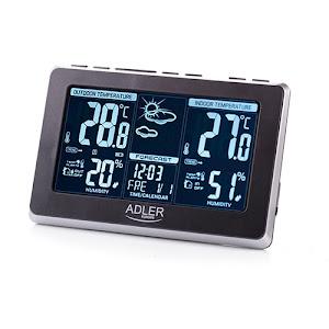 Statie meteo Adler AD 1175, termometru interior-exterior, ceas, alarma