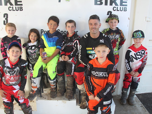 Back, Jessie Harris, Lani Browning, Liandro Browning, Lincoln Saunders, champion motocross rider Jay Marmont, Cameron Winter, Lennon Simmons, front, Lincoln Bourke and Oliver Lehmann.