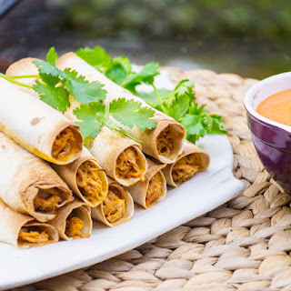 Baked Chicken Flautas with Roasted Red Pepper Dipping Sauce
