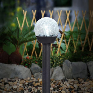 Set 3 lampi solare 23.5 cm, efect de glob spart