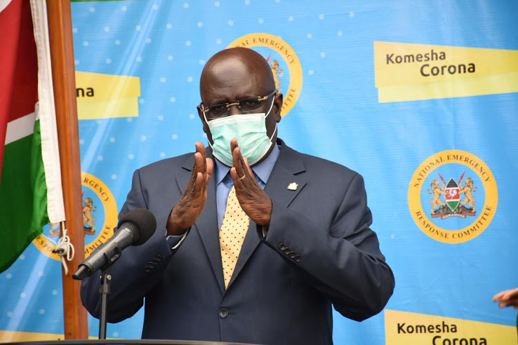 Education CS George Magoha during Covid-19 press briefing at Afya House on March 13, 2020.