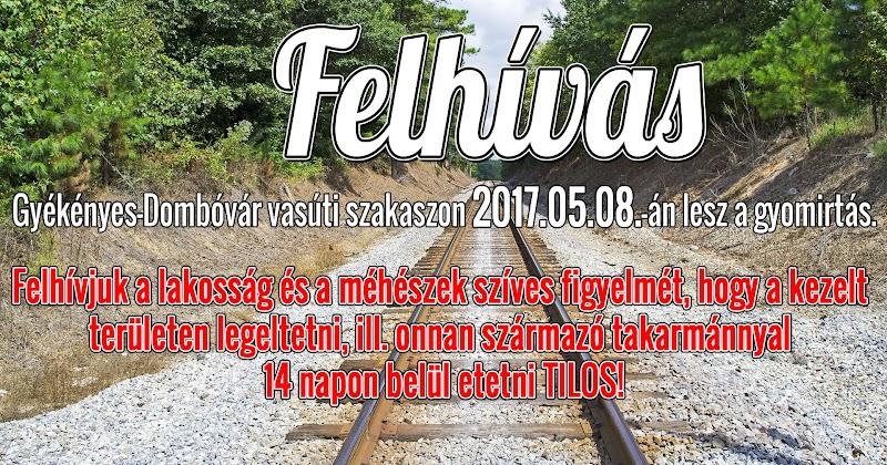 Gyékényes-Dombóvár szakaszon 2017.05.08.-án gyomirtás