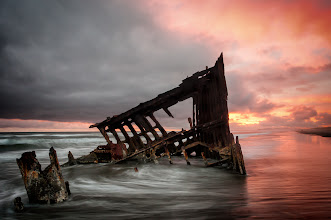 Photo: October 25, 1906  On that day the Peter Iredale ran ashore on the Oregon Coast and was abandoned as lost. Since then it has been the subject of many photos. I was happy to have captured this one last week as the tide rolled in.  Prints available: http://bit.ly/UGTFeV  #oregonphotography  #peteriredale  #sunset  #shipwreck