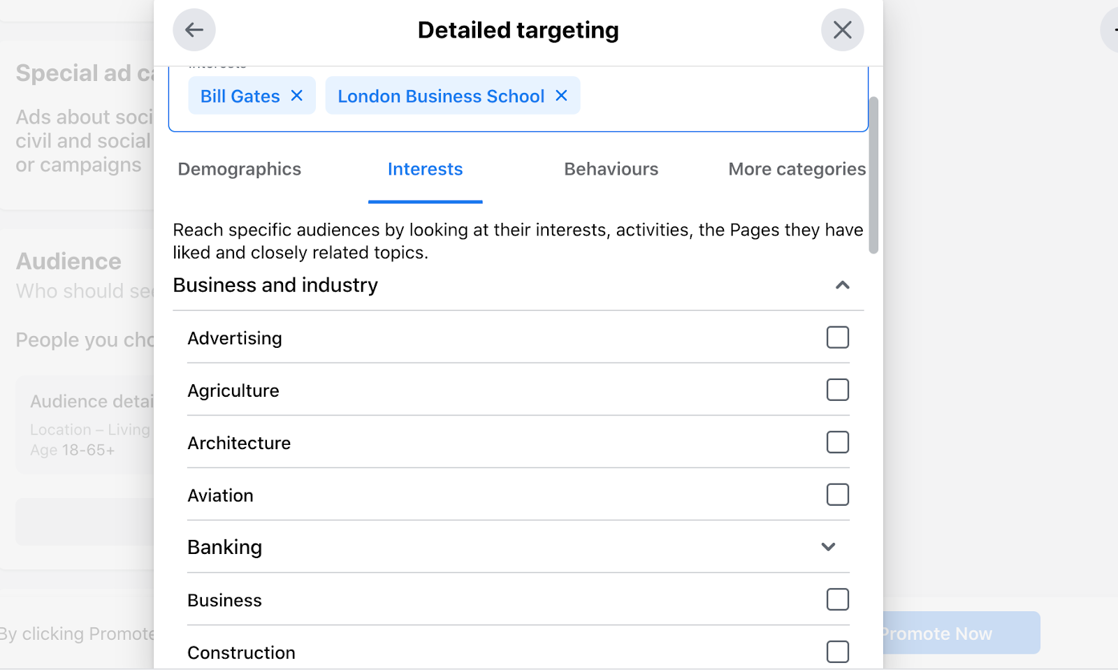 facebook detailed targeting screenshot