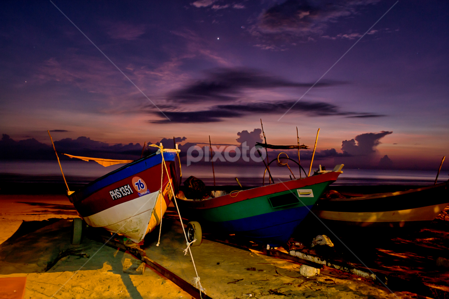Boat by the shore by Gary Yip - Transportation Boats ( shore, sunrise, beach, landscapes, boat )