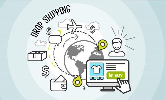 Drop shipping concept. dropship, cargo and buy, Premium Vector