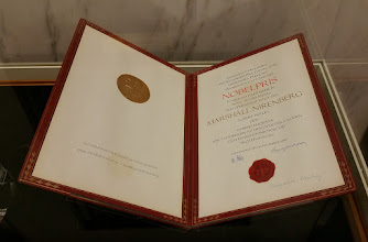 Photo: The National Library of Medicine has the Nobel Peace Prize belonging to Marshall Nirenberg for work he did while at the National Institutes of Health.  Nirenberg did the mathematical confiramtion of DNA structures.