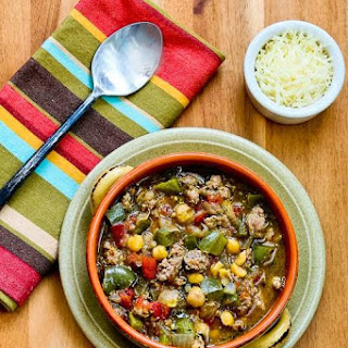 Italian Sausage Soup with Green Pepper, Chickpeas, and Pesto (Gluten-Free)