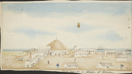 Wash drawing, George Town or the Garrison at Ascen