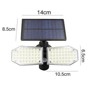 Lampa 78 LED cu panou solar dublu, split de perete, senzor de miscare