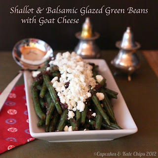 Shallot & Balsamic Glazed Green Beans with Goat Cheese