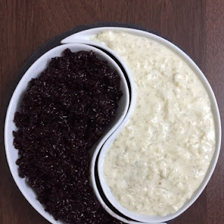 Black Sticky Rice and  Vanilla Rice pudding.