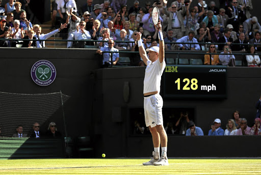 Kevin Anderson celebrates winning his quarterfinal match against Roger Federer. Picture: REUTERS/ANDREW BOYERS
