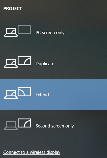 Various options to project your screen