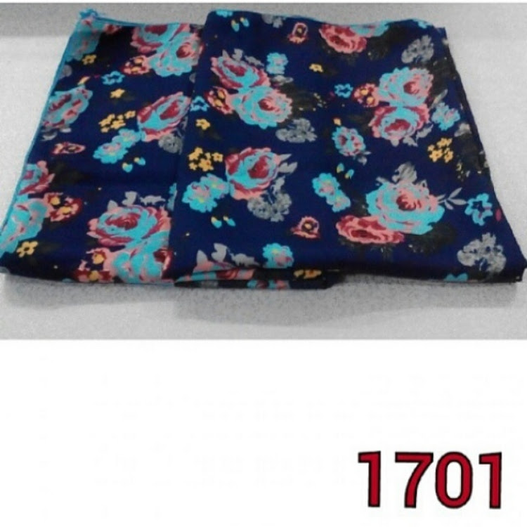1701 roses square scarf red/blue by PF LIMITED