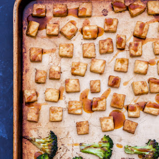 Sheet Pan Crispy Teriyaki Tofu and Broccoli.