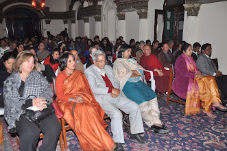 Photo: View of the audience. In front is Director of ICC- Kathmandu, Dr Geeti Sen. To her left is Mr Jagdish Rana, former MP and writer. on the extreme left of Dr Sen is the Ambassador of Bangladesh