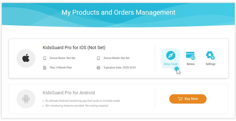 kidsguard ios app setup