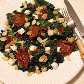 Hot And Spicy Spinach, Sun Dried Tomato, and Feta Cheese Salad.