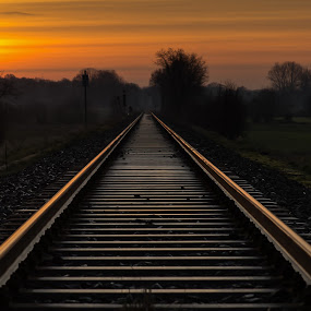Take the long way home by Jürgen Sprengart - Transportation Railway Tracks ( sunset, way, travel )