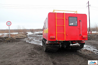 Photo: Hard question - how to cross over gas pipeline with this snow machine, if it is forbidden