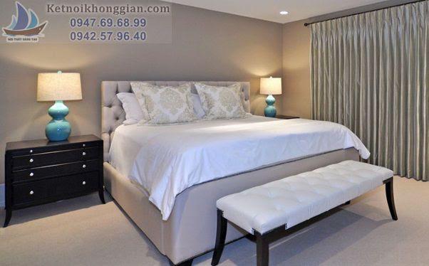 thiết kế phòng ngủ màu xám