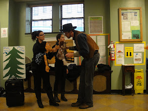 Photo: Candidates from the Graduate Program in Educational Theatre at The City College of New York perform Hansel and Gretel in celebration of Halloween 2011 for the Harlem Community.