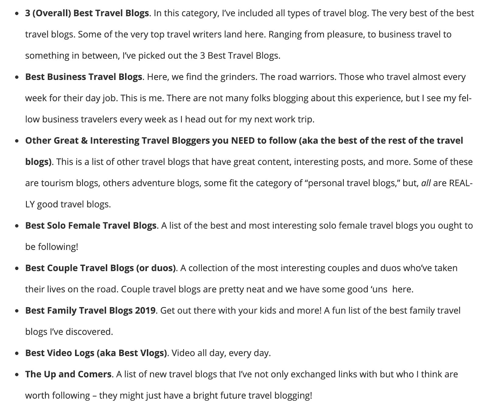 travel blogs list structure