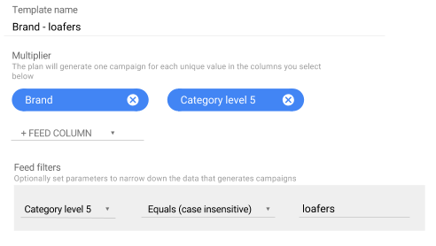 Use filters to generate campaigns for specific types of items.