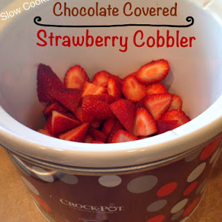 Slow Cooker Chocolate Covered Strawberry Cobbler.