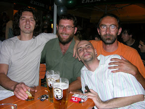 Photo: Out in Novi Sad with new Serbian mates (Our host Jimmy with glasses)