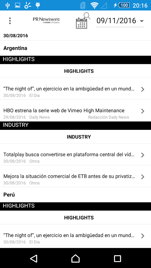 PR Newswire Mobile: captura de tela