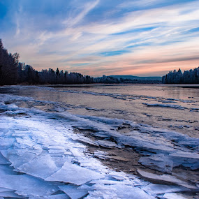 Frozen river by Morten Johnsrud - Landscapes Waterscapes ( sony, nature, ice, landscape, frozen, norway, river, a200,  )