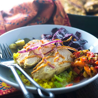 Healthy Middle Eastern Chicken Bowl.