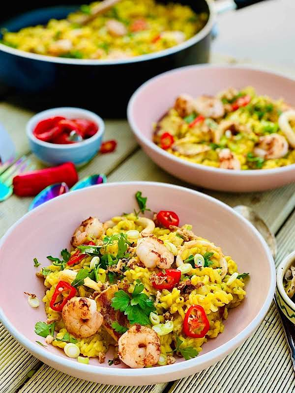 This Vibrant Pork And Seafood Risotto Is An Absolute Must Make Fall Dish, Comforting And Delicious.