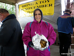 Photo: Marge Leventon carrying Tomalies, a gift from a visitor.    HALS Public Run Day 2014-1115 RPW