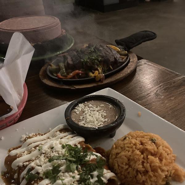 Chicken enchiladas and steak fajitas!