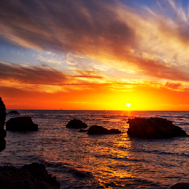sunset by Yuval Shlomo - Nature Up Close Water ( sunrise, rocks, sunset, sun, stone,  )