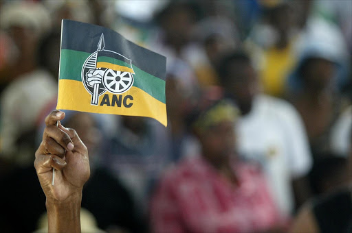 Hand holding an ANC flag. Picture: PHILLIP NOTHNAGEL. 19/02/2006. © Daily Dispatch