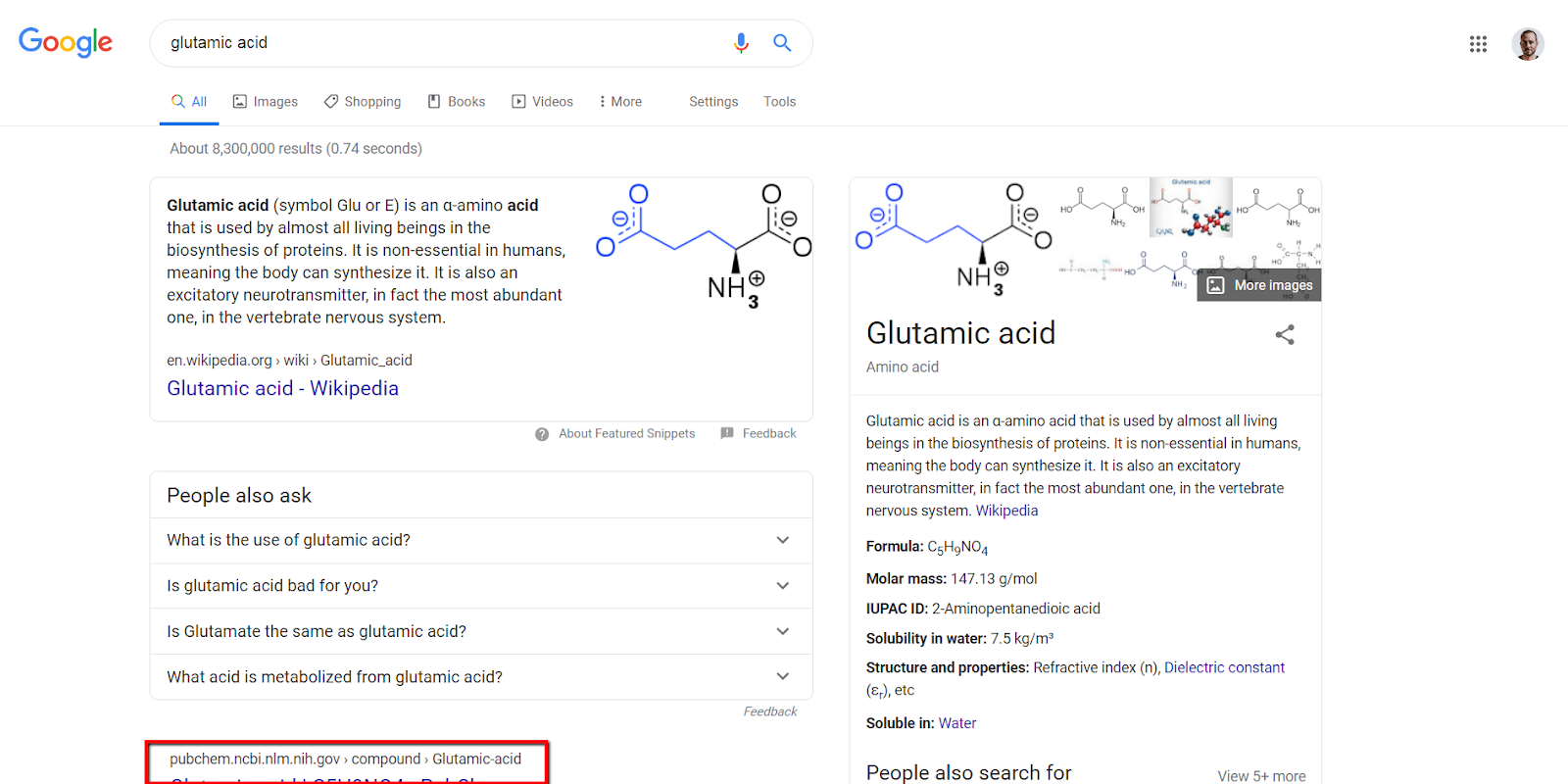 example of second result barely visible below featured snippet on desktop.