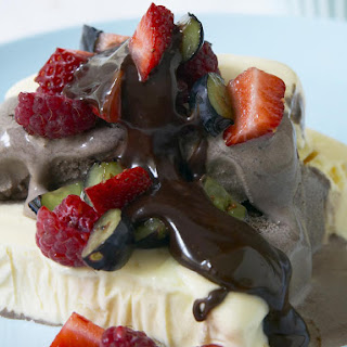 Ice Cream Sundae with Fudge Sauce and Berry Salsa
