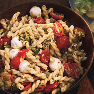 Pasta Salad with Cherry Tomatoes and Green Olivada.